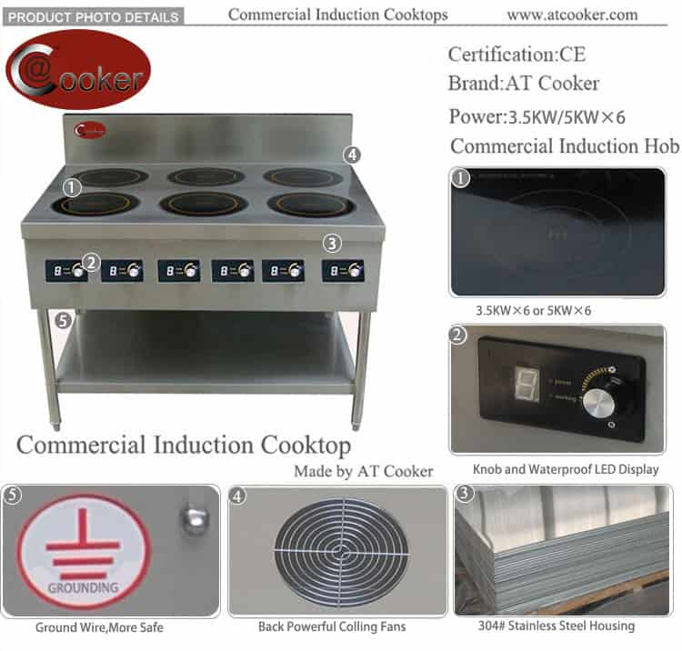 5000w restaurant commercial induction range 6 burners
