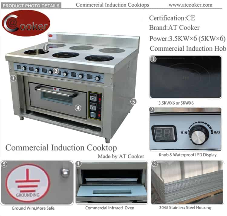 commercial induction range with oven BZT-AZH 6FO