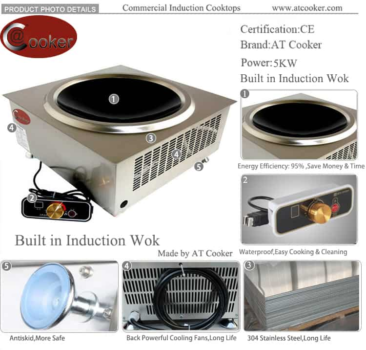 5 KW built in commercial induction wok