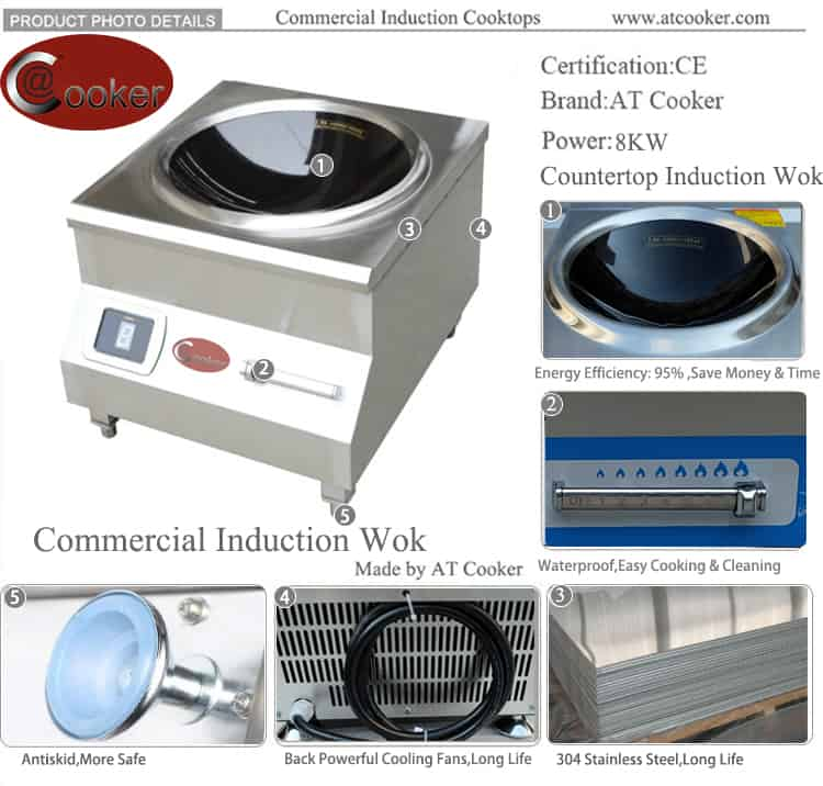 induction wok cooktop commercial